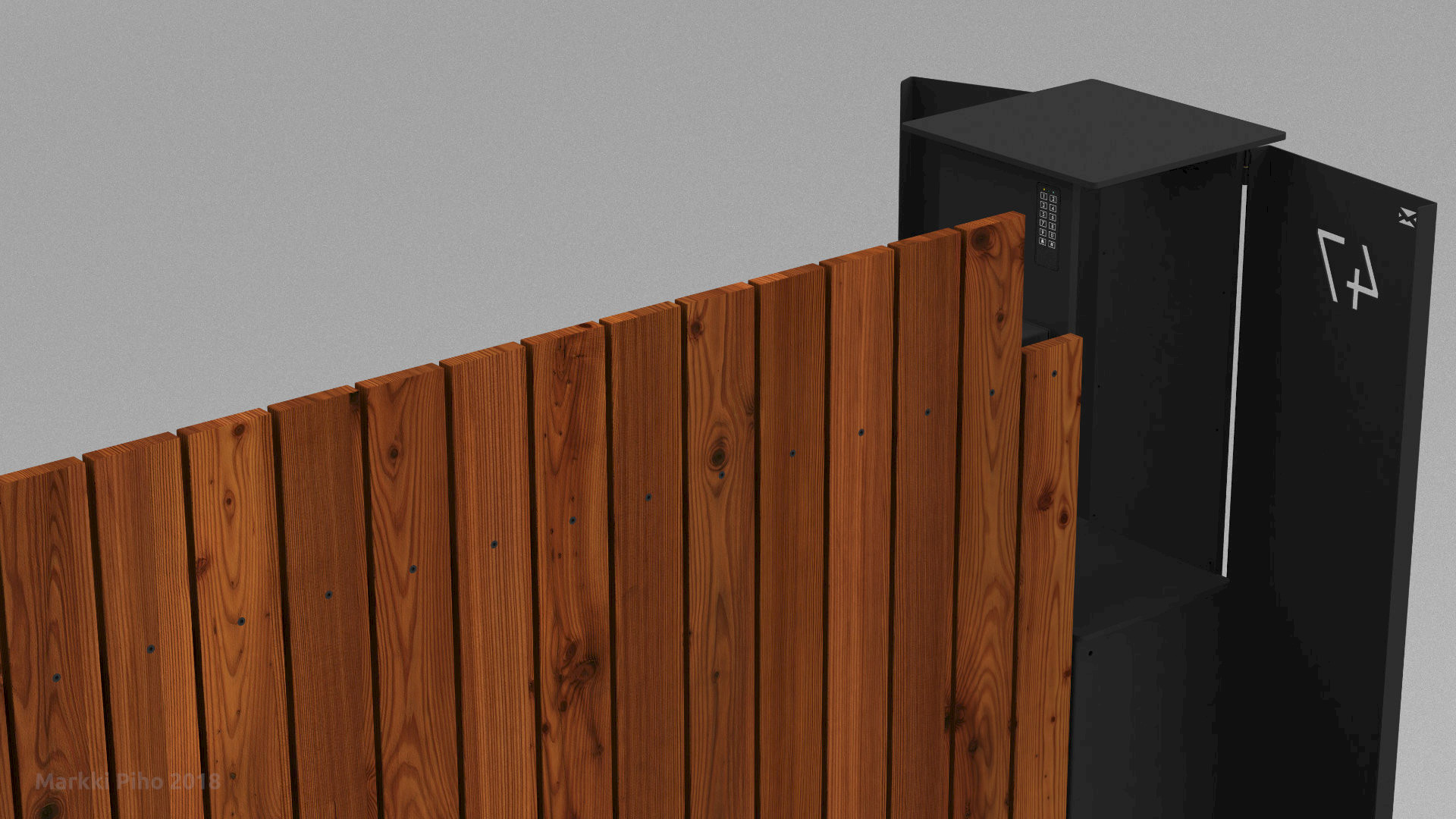 Sliding Gate with Built-in Mailbox